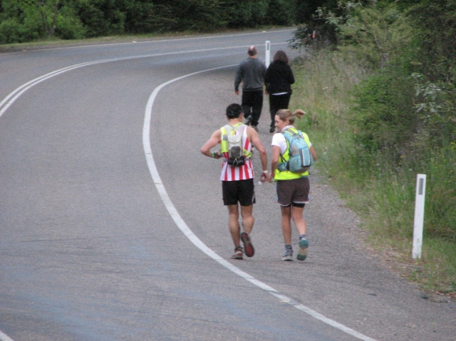 An awesome pairing. With all the amazing things we've experienced and seen this year, this is still one of my favourite pics. It's such a personal moment. HE has just run 104 difficult kilometres in under 13 hours and there's 70km to go, she has just jumped fresh out of a car and is immediately on the job, working at the level he'll need to get through. Pacing can go badly or brilliantly. These two killed it!
