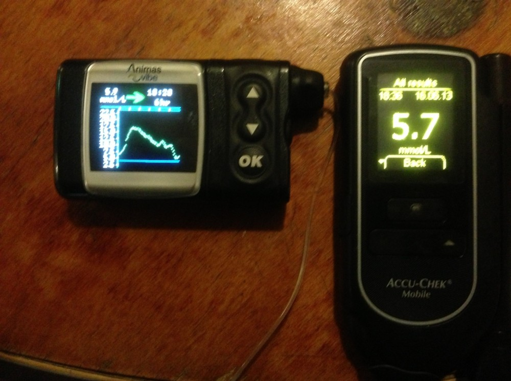 CGMS (5.9) side by side with glucose meter (5.7) at the end of recent 5-hour run. If you're on a pump and you want to test CGMS as a safety or backup feature on your multiday run, talk to your diabetes educator about organising a trial. It's a powerful tool and gives real piece of mind if you work with it properly on the run.