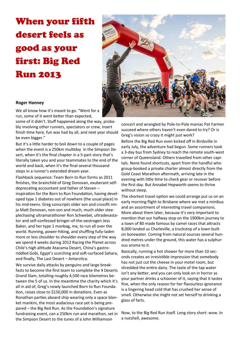 Sydney Striders Big Red Run article - RH17
