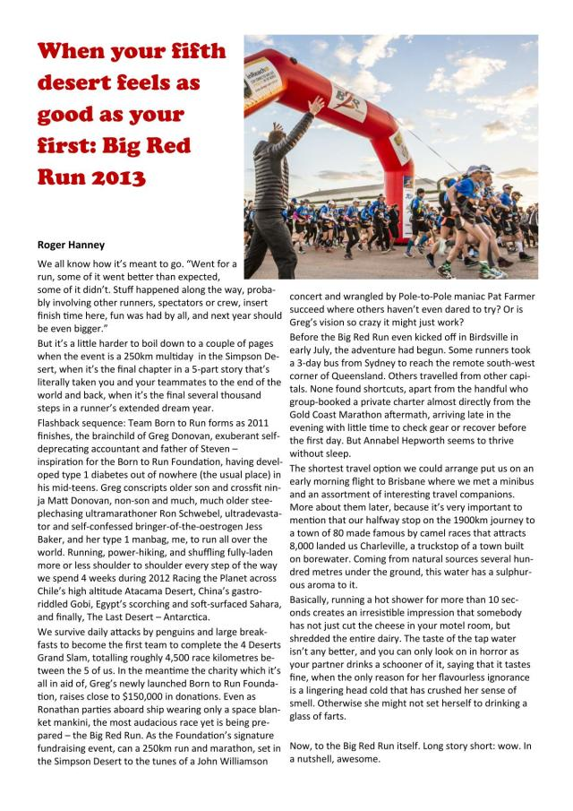 Sydney Striders Big Red Run article - RH17