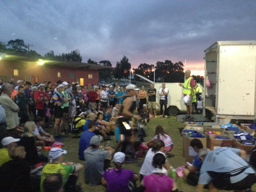 Race Director Dave Byrnes' opening sermon delivered to the edgy throng under a chaotic portentous sky.
