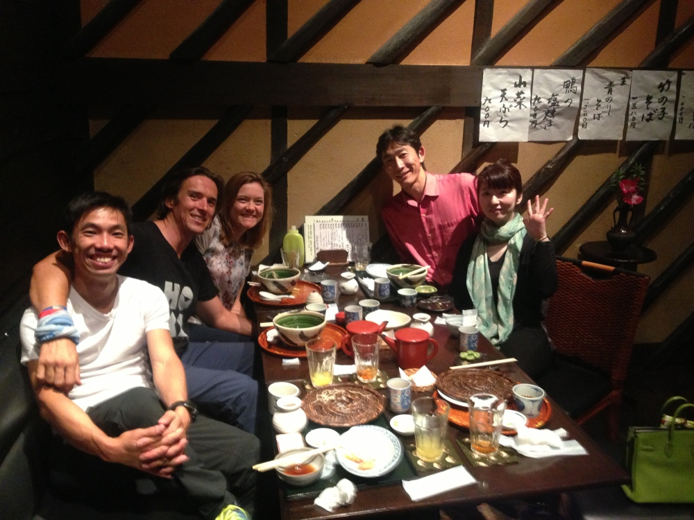 Superfriends & superfood = perfect pre-race evening. L to R, with Keith, Jess, Tomo, and Miho.