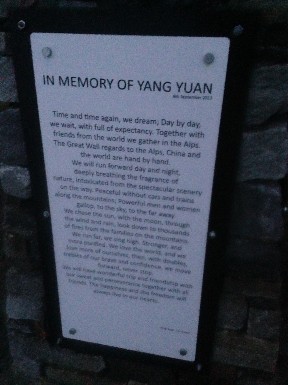 The memorial to a Chinese runner who died in a freak accident in 2013. Reading this at dusk in the mist was an eerie experience.
